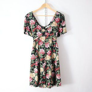 vintage 90s floral rayon mini dress M/L cute